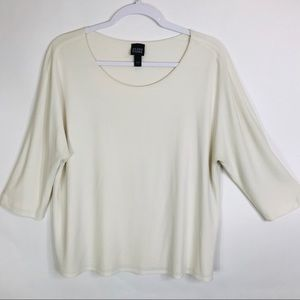 Eileen Fisher Top Round Neck Long Sleeves Pullover